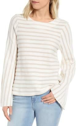 Bobeau Marion Stripe Bell Sleeve Cotton Blend Top
