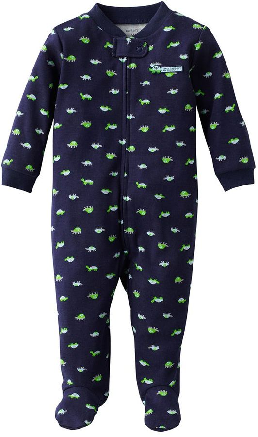 """Carter's i love mommy"""" turtle footed pajamas - baby"""