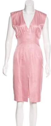 Zac Posen Sleeveless Silk-Blend Midi Dress