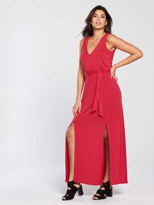 Very Split Front Cupro Maxi Dress - Red