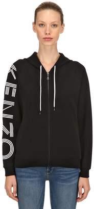 Kenzo Hooded Logo Printed Cotton Sweatshirt