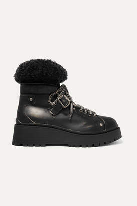 Miu Miu Shearling-trimmed Leather Ankle Boots - Black