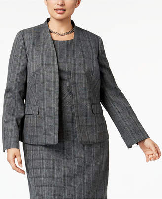Kasper Plus Size Stand-Collar Plaid Jacket