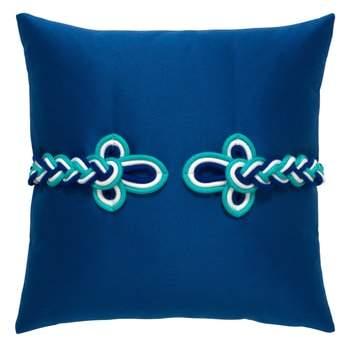 Cobalt Frogs Clasp Indoor/Outdoor Accent Pillow