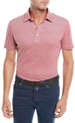 Kiton Men's Heathered Oxford Polo Shirt