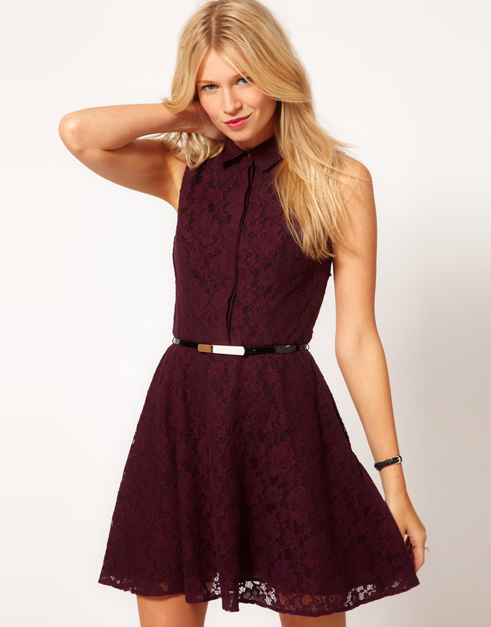 Oasis Contrast Lace Fit & Flare Dress
