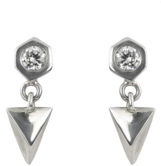 Gabriela Jewelry Hex Pyramid Earrings with Round Cubic Zirconia