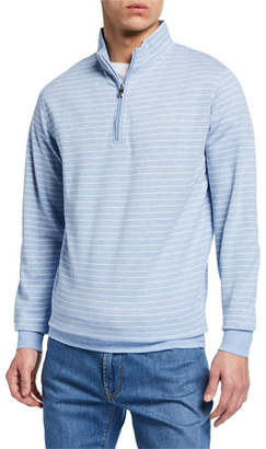 Peter Millar Men's Halifax Stripe Quarter-Zip Sweater