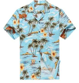Hawaii Hangover Made in Hawaii Men's Hawaiian Shirt Aloha Shirt Palms Flowers Houses in Blue
