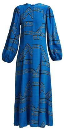 Ganni Cloverdale Printed Silk Dress - Womens - Blue