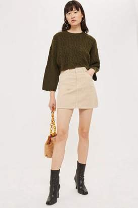 Topshop Cream Corduroy Skirt