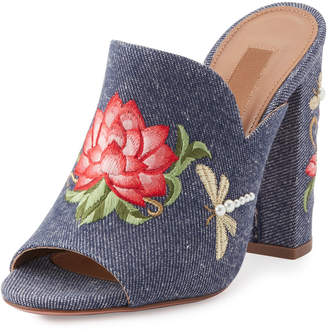 Aquazzura Lotus Embroidered Denim Mule Sandals, Blue