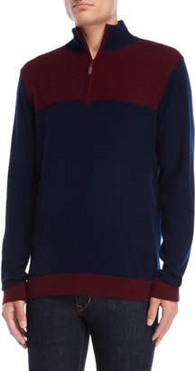 Qi Two-Tone Quarter-Zip Sweater