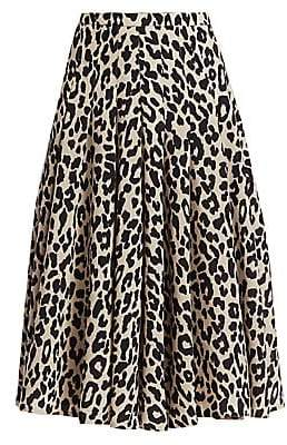 Akris Punto Women's Leopard-Print Wool Midi Skirt