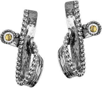 Or Paz Sterling Gemstone Accent Textured RibbonEarrings