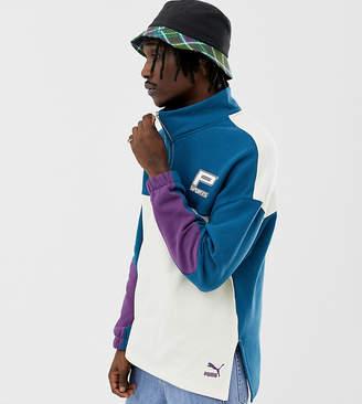 Puma organic cotton half zip sweat in blue Exclusive at ASOS