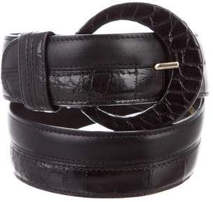 Oscar de la Renta Alligator-Trimmed Waist Belt
