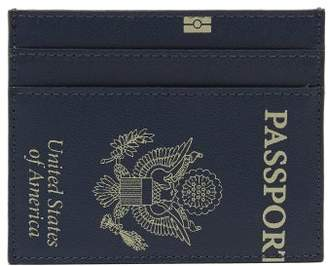 Passport Print Leather Cardholder - Womens - Navy
