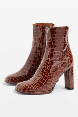 Topshop Womens Hattie High Ankle Boots - Brown