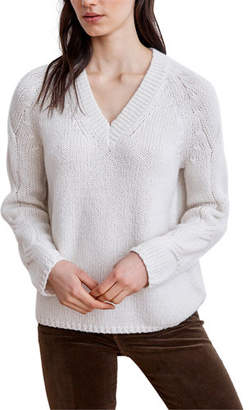 Velvet Pearl V-Neck Sweater w/ Cable-Knit Sleeves