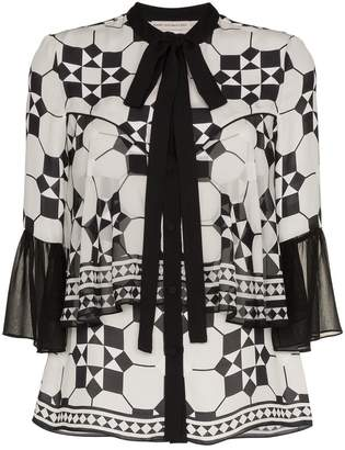Mary Katrantzou silk milana tie bell top