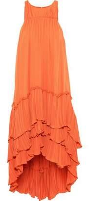 c2083536b8d Halston Tiered Plisse-paneled Crepe De Chine Dress
