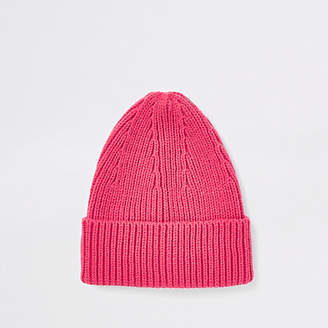 River Island Pink fisherman knit beanie hat