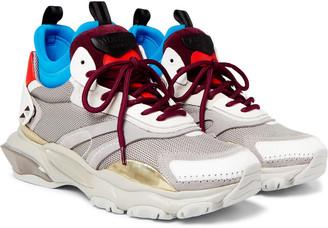 Valentino Garavani Bounce Metallic Leather, Mesh, Suede And Neoprene Sneakers
