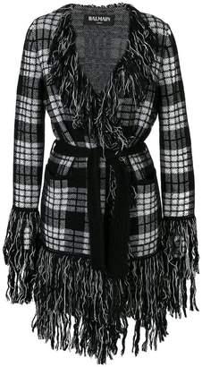 Balmain fringed tartan cardigan