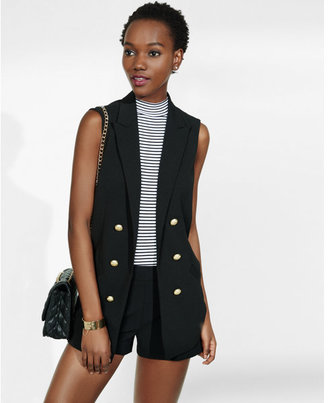 Express sleeveless faux double breasted jacket $98 thestylecure.com