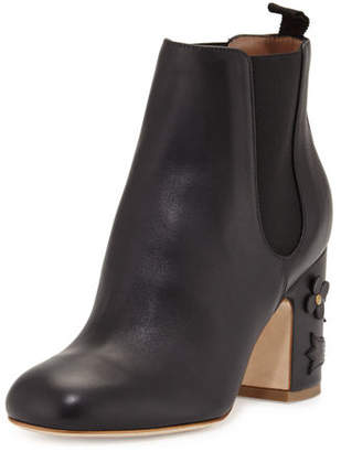 Laurence Dacade Mia Floral-Appliqué Leather 85mm Chelsea Boot $995 thestylecure.com