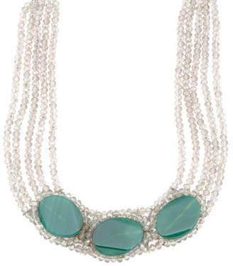 Green Agate Slab And Crystal Multi Row Necklace