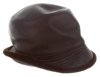 Hermà ̈s Mink-Trimmed Leather Japon Hat Brown Hermà ̈s Mink-Trimmed Leather Japon Hat