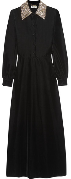 Saint LaurentSaint Laurent - Crystal-embellished Velvet Midi Dress - Black
