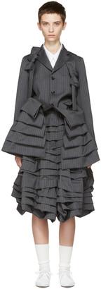Comme des Garçons Grey Bow Suspender Ruffle Coat $2,245 thestylecure.com