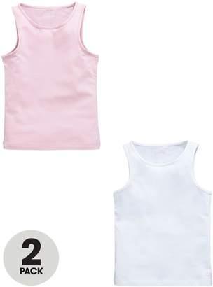 Calvin Klein Girls White/Pink Cami Vests (2 Pack)