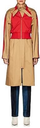 BESFXXK Women's Mixed-Media Trench Coat