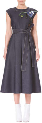 Carolina Herrera Cap-Sleeve A-Line Denim Midi Dress with Embroidery Detail