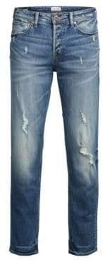 Jack and Jones Distressed Slim-Fit Jeans