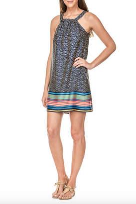 Jade Tie Back Halter Dress w Bottom Stripe