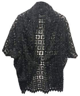 Laundry by Shelli Segal Geo Lace Ruffle Cocoon Cardigan