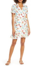 Charles Henry Floral Ruffle Collared Linen Wrap Minidress