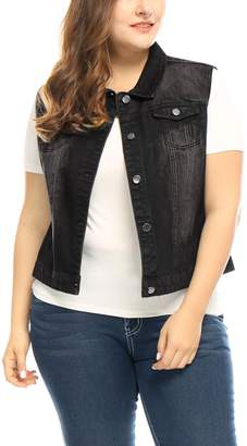 uxcell Agnes Orinda Women's Plus Size Chest Pockets Single Breasted Denim Vest