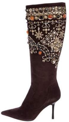 Oscar de la Renta Suede Embellished Boots