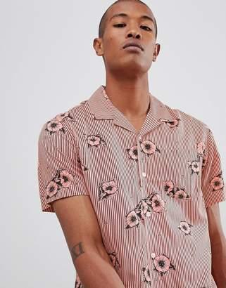 HUF Delsur floral shirt in coral