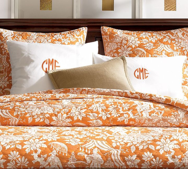 Tea Garden Toile Quilt & Sham - Orange