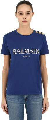 Balmain Shiny Logo Printed Cotton Jersey T-Shirt
