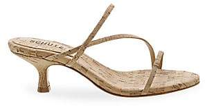 Schutz Women's Evenise Cork Kitten Heel Sandals