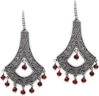 Artisan Crafted Sterling Silver Garnet Chandelier Earrings