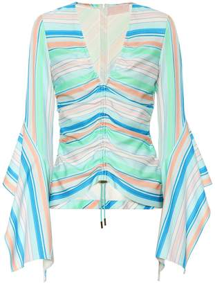 Peter Pilotto Striped bell sleeve top